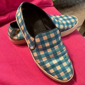 DVF Blue & White Tile Budapest Sneakers